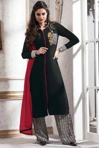 909070d3bd ... Pakistani Designer Party Wear Salwar with effective & timely delivery.  Black Unique Straight Georgette Salwar Suit