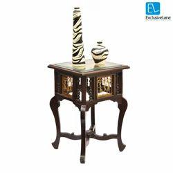 Exclusive Lane Teak Wood Corner Table with Dhokra and Warli