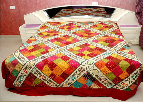 Designer Katha Multi Colored Embroidery Bedsheet