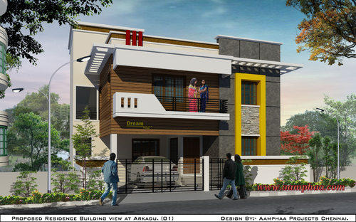 Front Elevation Designs For Small Houses In Chennai : Terracotta front elevation designs in arumbakkam chennai