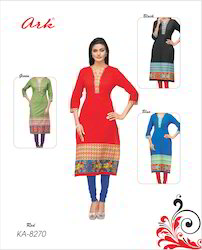 Straight Long Cotton Kurti By Ark