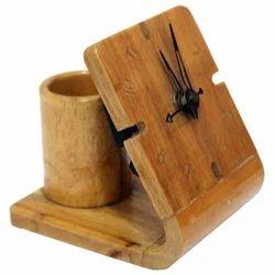 Modern Wooden Clock Pen Stand