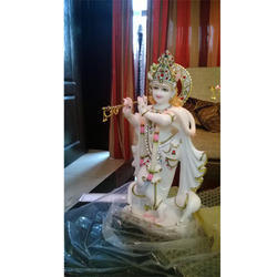 Marble Gold Plated Krishna Statue