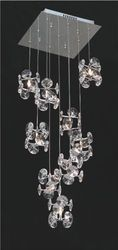 Nico 20 Light Ceiling Chrome Crystal With Crystal Glass Sha