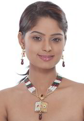 Cultured Pearl and Metal Jewelry Necklace Pendant Set