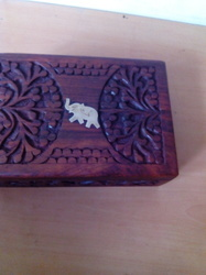 Single Elephant Wooden Tea Box