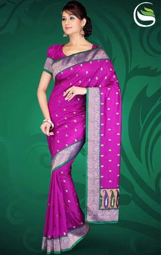 d997250d056d7e Party Wear Magenta Color Art Silk Saree with Blouse - Saree Swarg ...