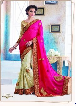 8548a1dbe62 Georgette and Off White Color Brasso Saree W - IconicBiz Online ...