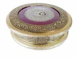 Antique Round Shaped Wooden Handmade Decorative Box