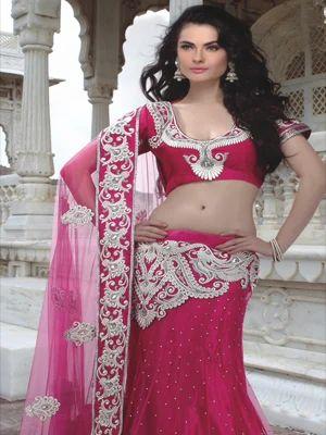 6ffdd53a4e Dark Pink Art Silk Readymade Lehenga Choli with Dupatta - Shringar ...