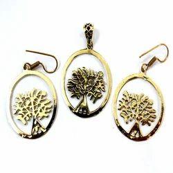 Brass Earring Pendant Set