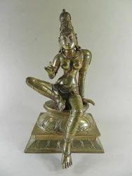 South Indian Bronze Polished Hindu Goddess Parvati Statue 7