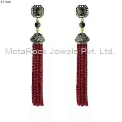 Ruby Gemstone Pave Diamond Beads Tassels Earrings Jewelry