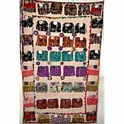 Elephant Applique Patch work Kantha Reversible Quilt