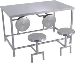 MEC Stainless Steel S.S.Dining Table with Stools, For CANTEEN, Size: 1200X750X750