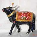 Metal Meenakari Painted Cow