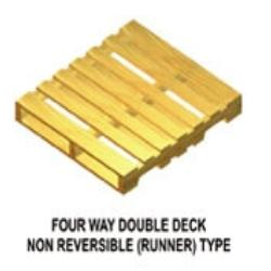 Four Way Wooden Non Reversible Runner Pallet, For Ceramic Export, Capacity: 1000 - 1500 Kgs