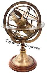 Antique Wood Base Armillary