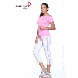 White Lycra Cotton Women Fitness Capri