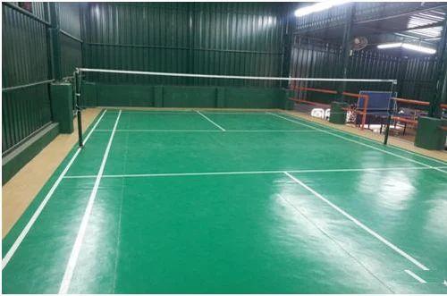 Blue Indoor Synthetic Badminton Court Flooring Service
