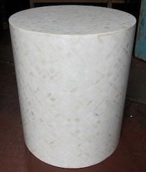 Bone Inlay Drum Stool