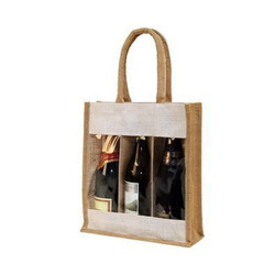 Three Bottle Jute Wine Bags