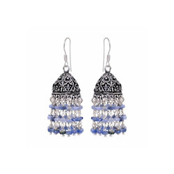 Blue Sapphire Beeded Earring