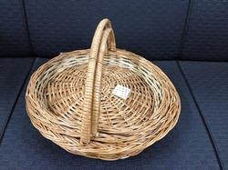 Round Flat Cane Basket with Side Handle