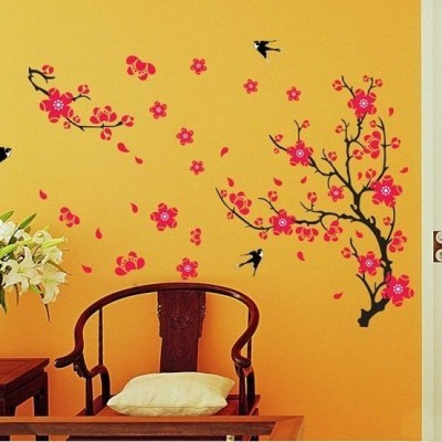 black branch with pink flowers and flying birds wall decal at rs 489