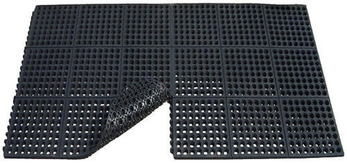 Black Rubber Anti Skid Bar Floor Mat Interlocking Size