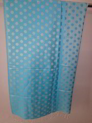 Light Blue Dot Printed Woven Stoles