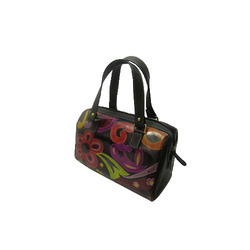 Brown And Red Leather Ladies Fashion Hand Bag