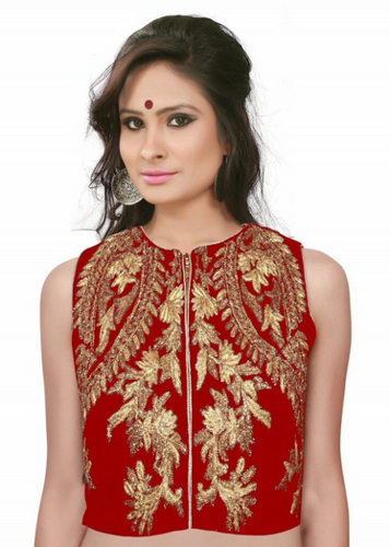 cae61bad157c4a Red Velvet Tri Color Embellishment Blouse at Rs 999 | Blouses | ID ...