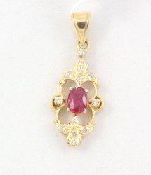 Ruby And Diamond 14K Yellow Gold Pendant