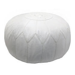 quality design 7636c 3e1ef White Leather Pouf Ottoman