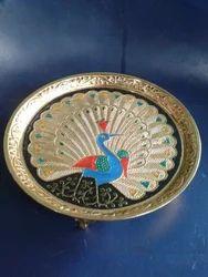 Asha Original Brass And Gold Peacock Plate
