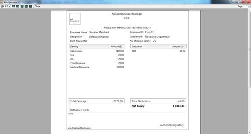 Web Based Payroll Management Services Salary Slip Generation – Salary Slip