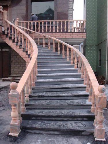 Stone Railing Pillar Stone Stairs Railing Manufacturer From Dausa