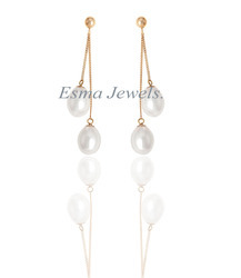 Simple Gold Plated Pearl Earring
