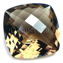Smoky Quartz Checkerboard Cut Antique Cushion Gemstone