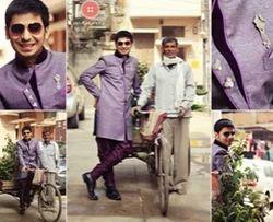 Purple Semijute Indo Western Suits