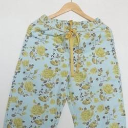 Blue and Yellow Floral Print Pajama