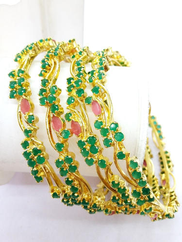 gold traditional emerald ruby bangles for plated women at glowroad large az