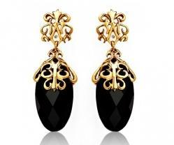 Gold Lace With Black Onyx Earrings