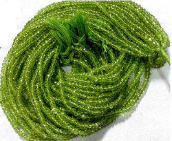 Peridot Gemstone Faceted Rondelle 3-4mm Beads Strands