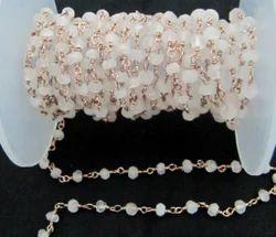 Rose Quatz Rosary Bead Chain, Wire Wrap Rose Quartz Beads