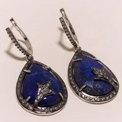 Lapis CZ Earrings