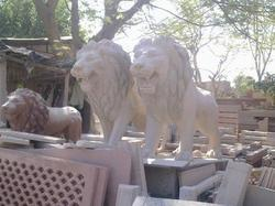 Marble Standing Lion Pair