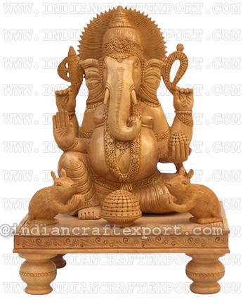Superior Wooden Chowki Ganesha Statue