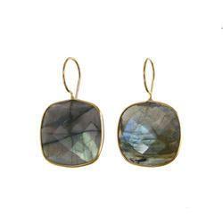 Labradorite Cushion Shape Bezel Set Earrings